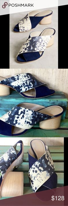 """Anthropologie Suede Snakeskin Print Slide Mules 10 Anthropologie Guilhermina Navy Suede Snakeskin Print Slide Sandals Mules criss cross straps one strap suede one strap navy white snakeskin print  light natural wood round 2.5"""" heel leather lined  *  padded footbed * leather sole New In Box  *  Size:  10 M  * Fits True To Size Anthropologie Shoes Mules & Clogs"""