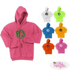Monogrammed Pullover Hooded Sweatshirts in 44 Colors!  Got to be our best seller of the year! How cute! from www.thepinkmonogram.com