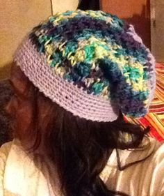 Multi colored slouchy hat on Etsy, $15.00