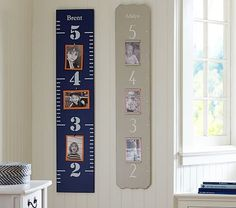 Wooden Growth Chart in Navy, would be fun to have this on the wall in between the Bathroom and Bedroom Door