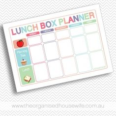 {The Organised Housewife} Lunch Box Planner with Fruit and Morning Tea $4.95