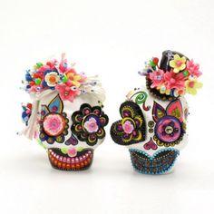 Dia De Los Muertos Skull Bride and Groom Cake Toppers Day of the Dead Sugar Skull 00077