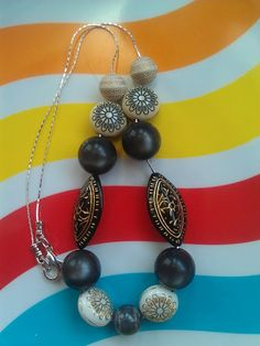 "Vintage Lucite Beaded Necklace: ""Back in Black"" ($28) by Avocado Eggroll"