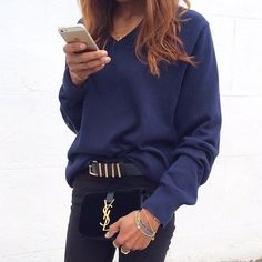 Try navy and black for fall, highlighting your gold accessories. See more of our editor's fall style tips on ShopStyle.com!