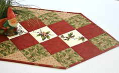 Christmas Table Runner, Quilted Winter Table Topper, Holly and Pines, Red Green Table Quilt, Winter Table Runner, Quiltsy Handmade by RedNeedleQuilts on Etsy