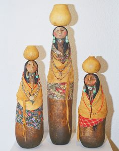 Navajo Pot Women gourd figures by Robert Rivera at the Torres Gallery, Santa Fe, New Mexico Decorative Gourds, Hand Painted Gourds, Native Art, Native American Art, Southwestern Art, Victorian Dollhouse, Modern Dollhouse, Paperclay, Gourd Art