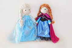 Handmade Crochet Dolls by LinaMarieDolls on Etsy //frozen dolls// Anna Elsa // Disney Princess dolls