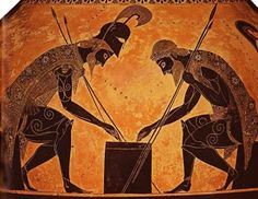 Exekias's Attic black-figure amphora painting of Achilles and Ajax playing a game during the Trojan War, Detail of neck-amphora, BC, unattributed Ancient Greek Art, Ancient Greece, Ancient History, Art History, Genius Ideas, Classical Elements, Classical Period, Greek Pottery, Trojan War