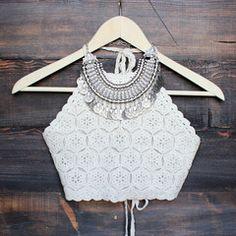 sahara crochet crop halter top - sand