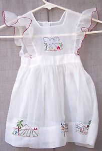 vintage 50's baby girl sheer white dress pinafore embroidered 2-3yrs