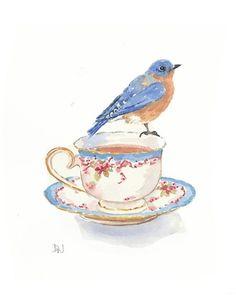beagle watercolor paintings | Bird Watercolour Painting - Bluebird Painting, Teacup Watercolor ...