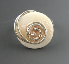 White and Peach Button Ring  Wire Wrapped by TrinketsNWhatnots  www.trinketsnwhatnots.etsy.com