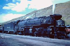 One of the Denver & Rio Grande Western's big Class is seen here in Salida, Colorado on June Designed for faster speeds in mountainous territory, they proved effective in this capacity. Baltimore And Ohio Railroad, Steam Engine, Steam Locomotive, Rio Grande, Denver, Westerns, Places To Go, Scenery, America