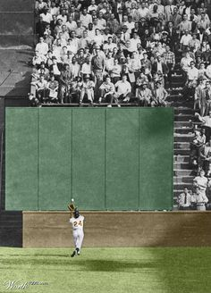"""Willie Mays' """"The Catch"""" on September 29, 1954, during Game 1 of the 1954 World Series between the New York Giants and the Cleveland Indians at the Polo Grounds"""