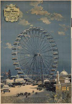 La Torre Eiffel de Chicago. En 1893 se inauguraba la Gran Noria de Chicago. El origen de esta idea tenía lugar en 1890, cuando en el Congreso de los EEUU se decidió conmemorar los 400 años del descubrimiento de América por Cristóbal Colón con una exposición basada en una serie de construcciones que apelaran a la grandeza del país: rascacielos, eventos y celebraciones y... la gran Ferris Wheel diseñada por George W. Ferris y con capacidad para 1920 personas (distribuidos en 40 vagones).