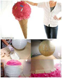 Pinata cornet de glace à partir d'une lanterne en papier