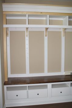 mudroom cabinet plans get stunning mudroom with mudroom bench plans mudroom storage mudroom bench with storage mudroom storage lockers plans Mudroom Bench Plans, Mudroom Storage Bench, Bench With Storage, Entry Bench, Hallway Storage, Extra Storage, Storage Spaces, Do It Yourself Ikea, Mudroom Cabinets