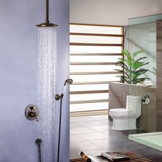 Traditional ceiling mount rain shower head & hand shower set in antique brass, sold at US$209.99