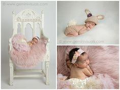 Gemini Visuals Creative Photography // White Rock/South Surrey, BC, Canada // www.geminivisuals.com | newborn baby in pink on chair