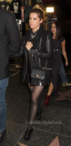 Seen on Celebrity Style Guide: 'Scary Movie 5' star Ashley Tisdale wore this wool, boucle and leather biker jacket. Get It Here: http://rstyle.me/~1jyZs