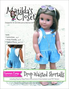 """SUMMER CAMP COLLECTION: DROP-WAISTED SHORTALLS 18"""" DOLL CLOTHES"""