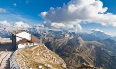 View of the Dolomites and Rifugio Lagazuoi, Italy Places To Travel, Travel Destinations, Places To Visit, Appalachian Trail, Travel Articles, Hostel, Lodges, Scenery, Hiking