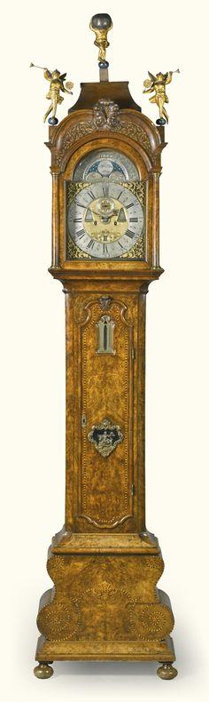 A Dutch quarter striking walnut longcase clock with alarm and barometer/thermometer, Gerrit Van Der Heij, Amsterdam, circa 1740