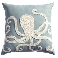 Add a luxe touch to poolside or patio furniture with our newest collection of UV-treated outdoor pillows. Channeling an oceanic vibe, this blue beauty features an elaborately embroidered octopus in a contrasting shade of shell white. Together, the pair is obviously indigenous to any well-decorated garden or yard.
