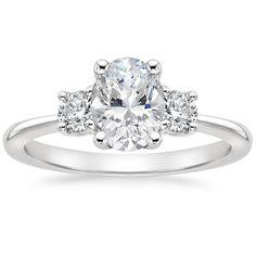Three Stone Diamond Ring, Three Stone Engagement Rings, Engagement Ring Settings, Diamond Engagement Rings, Oval Diamond, Brilliant Diamond, Brilliant Earth, Stylish Rings, Eternity Ring