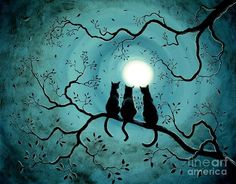 Laura Iverson「3 black cats under the moon」