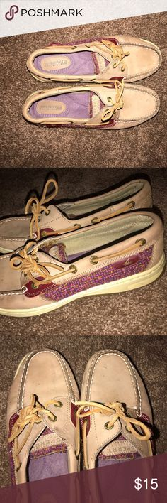 Sperry Top-Sider shoes! Super cute and comfy! Caramel brown sperry's with a red/purple/brown design on side. Very cute and stylish. Look brand new Sperry Top-Sider Shoes Sneakers