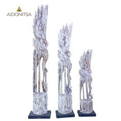 Διακοσμητικά χειροποίητα ξύλινα πουλιά (3 τμχ). Σε άσπρο αντικέ χρώμα.  Από την Alphab2b.gr Wooden Bird, Bookends, Objects, Home Decor, Art, Art Background, Decoration Home, Room Decor, Kunst