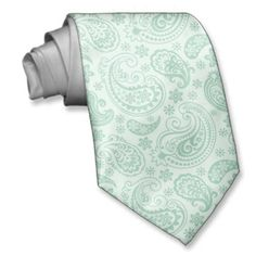 Mint-Green Tones Vintage Paisley Pattern Custom Ties