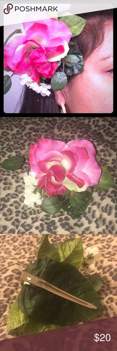Large Rose Hair Accessory Make a statement with this beautiful Pink Rose. Lokelani Designs Accessories Hair Accessories