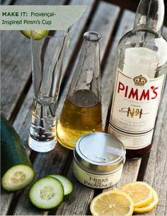 Provencal Pimm's Cup!  Simple Syrup: 2 Cups water   1 cup sugar   1/2 tablespoon herbs de Provence   Strain the liquid through cheesecloth into a jar/bottle.  What you need for one drink:  1/2 ounce of simple syrup {or to taste}   1 oz. Pimm's   San Pellegrino Limonata   ice   lemon and cucumber slices  Pour the simple syrup over ice into a tall glass. Add the Pimm's & top with Limonata.