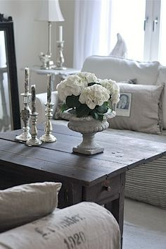 Look like mine aside from m blue walls  Neutral living room with a blend of rustic and elegant