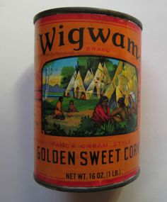 Early-Wigwam-Vegetable-Sweet-Corn-Tin-Unopened-Colorful-Indian-Camp-Graphics-Sold for $16.47.