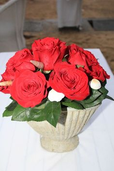 Red rose pot, with a Couples touch for a #destinationwedding