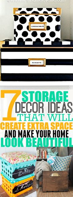 Create storage space while making your home look absolutely gorgeous by creating these 8 DIY Storage Decor Ideas. Pinning for later!