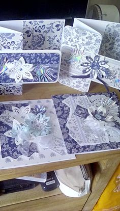 Made by Elaine Sampson - More tonic die flower creations for my blue and white cards, which remind me of my Hanna's tea set. Thanks Tonic