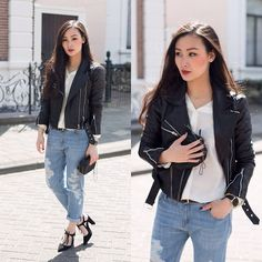 i am obsessed with motorcycle jackets at the moment and my favorite pairing is with distresses jeans and a mini heel