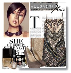 """allsaints flair"" by stacy-gustin ❤ liked on Polyvore featuring AllSaints, Butter London, Chanel, Christian Dior, Anaconda, cocktail rings, sequined dresses, hidden platforms and clutches"
