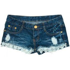 Short Jeans Feminino Puído com Babados
