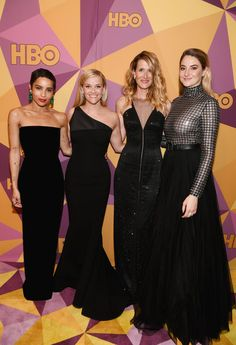 Zoe Kravitz, Reese Witherspoon, Laura Dern and Shailene Woodley of 'Big Little Lies' attend HBO's Official Golden Globe Awards After Party at Circa 55 Restaurant on January 7, 2018 in Los Angeles, California.