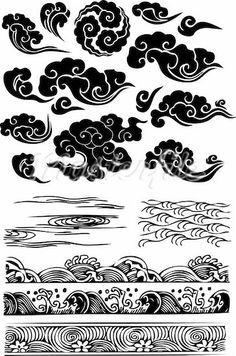Japanese clouds- for an addition to my dragon and geisha tattoo