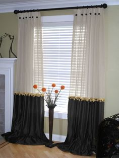 Drapery trim and buttons add decorative touch. Sheer on top with solid on bottom is nice look Home Curtains, Window Drapes, Curtains With Blinds, Window Coverings, Window Treatments, Beautiful Curtains, Drapery Panels, Window Styles, Curtain Designs