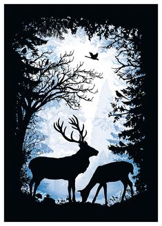 Illustration by Laura Barrett - Mendola Artists Ltd - New Ideas Forest Silhouette, Silhouette Painting, Animal Silhouette, Hirsch Silhouette, Natur Tattoos, Deer Art, Shadow Art, Art Mural, Painted Rocks