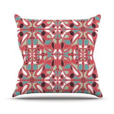 Miranda Mol Stained Glass Pink Outdoor Throw Pillow by KessInHouse