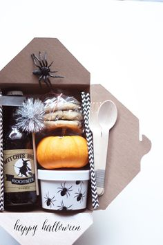 DIY trick-or-treat treat boxes for halloween, adult style trick or treating..