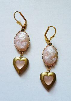 Vintage Sweetheart Earrings with Pearly Pink Mini by LaPlumeNoir, $38.00